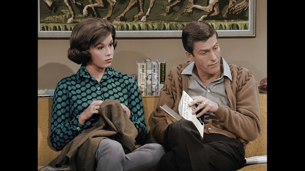 Mary Tyler Moore and Dick Van Dyke star in 'The Dick Van Dyke Show,' back for Christmas. (Photo by CBS).