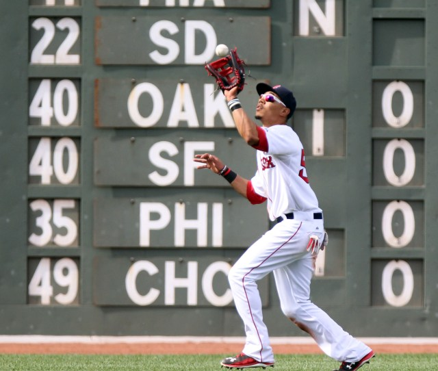 Boston Ma  Mookie Betts Catches A Ball Hit By Nick Castellanos In The Second Inning Of The Red Sox Vs Tigers Game At Fenway Park