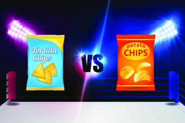 "Image result for potato chips vs tortilla chips"""
