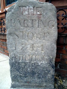 The Parting Stone, Roxbury. Left leads to Dedham & Providence, right leads to Cambridge