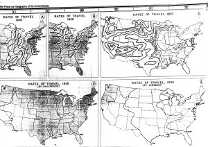 A series of Isochronic Map of the United States. Each map shows the time it would take to travel to any point in the country from New York over the course of two centuries.