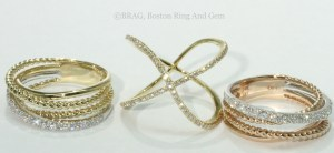 Gold and Diamond CrissCross Rings