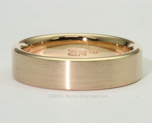 modern rose red gold mend wedding band