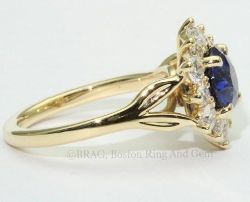 sapphire diamond gold halo unique engagement ring