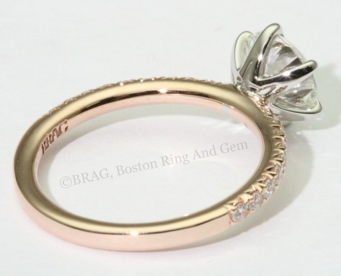 Rose gold and platinum diamond engagement ring band