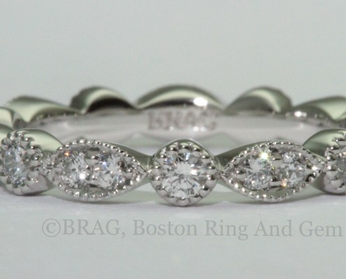 platinum and diamond vintage antique eternity wedding band
