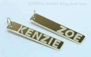 Custom, Personalized Gold and diamond name bar pendants