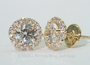 gold and diamond halo earrings