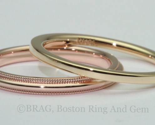 Rose and yellow gold wedding rings