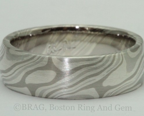 Chris Ploof Designs, Men's 6 mm wide Mokume gane ring in the Ash pattern. Platinum, 14k palladium, white gold and silver