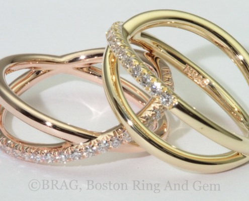 18k yellow and rose gold with French cut set diamonds crisscross ring