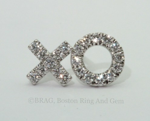 X O diamond and white gold stud earrings