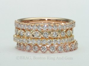 14k & 18k Yellow and Rose Gold Stackable Wedding Rings