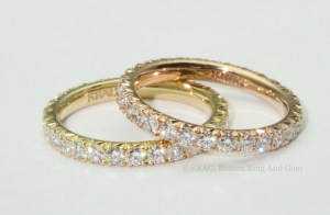 18k Yellow and Rose Gold Eternity Wedding Rings