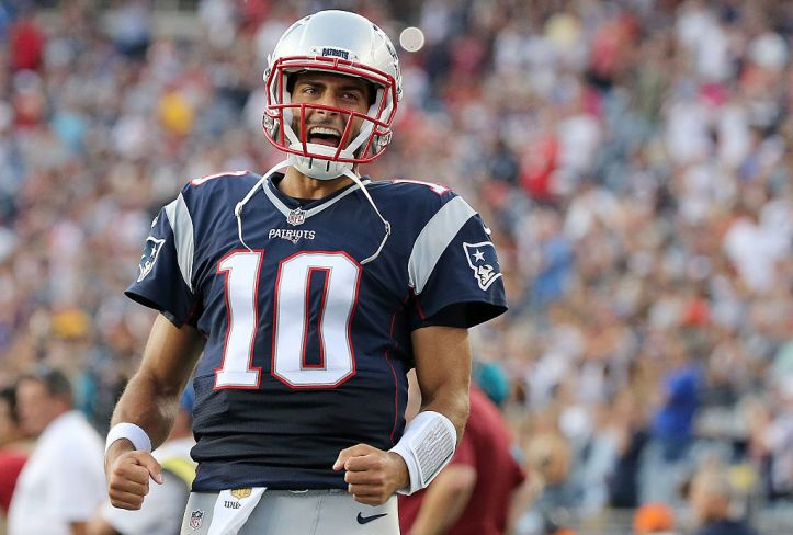 FOXBORO, MA - AUGUST 11: Jimmy Garoppolo #10 of the New England Patriots reacts before a preseason game with the New England Patriots at Gillette Stadium on August 11, 2016 in Foxboro, Massachusetts. (Photo by Jim Rogash/Getty Images)