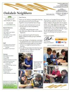 Oakdale Neighbors Newsletter 2014-12