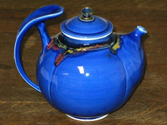Porcelain teapot, true blue glaze, by Andrew Boswell