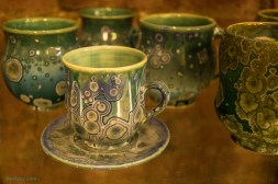 Crystalline glaze cup and saucer