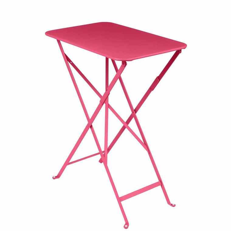 table pliante rectangulaire bistro rose en acier 57 x 37 x 74 cm