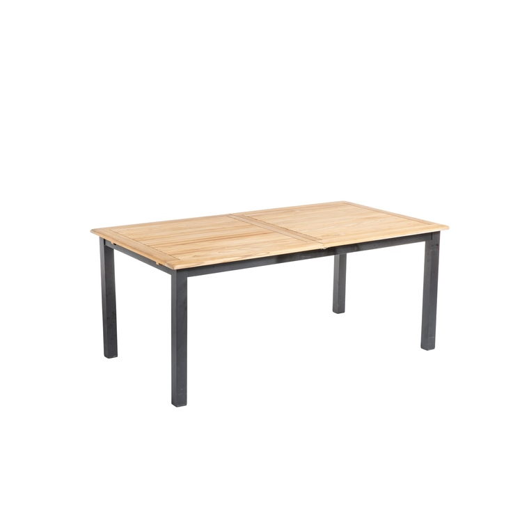 table extensible en aluminium et teck naturel 180 240 x 100 x 75 cm