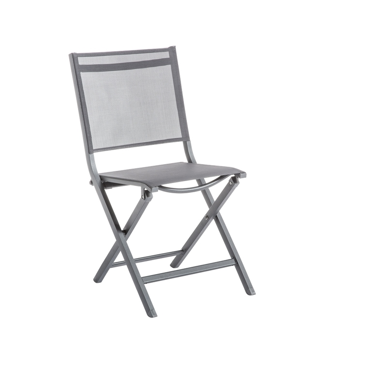chaise pliante max en aluminium grise 90 x 45 x 52 cm