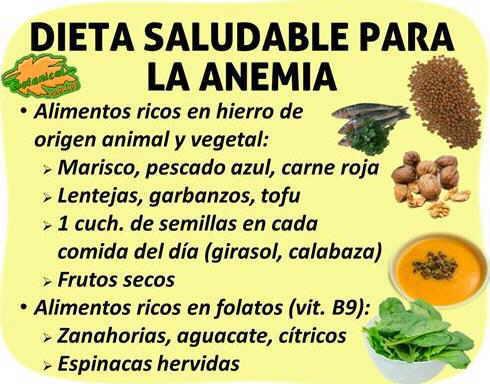 dieta alimentacion rica en hierro para la anemia