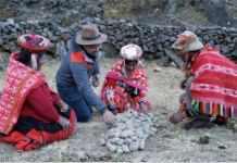 """A scene from Episode 2 of Food: Delicious Science, """"A Matter of Taste"""". Host James Wong and a Quechua family detoxifies potatoes for long-term food security."""