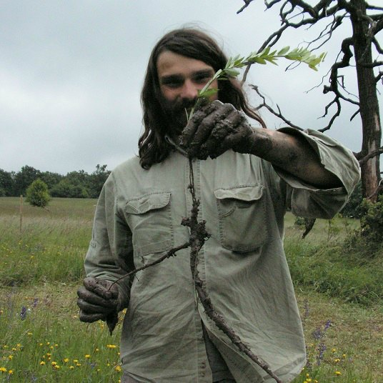 A chap holding a stalk of grass