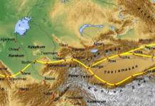 Map of the Silk Road crossing the deserts and Eurasian Steppe in Central Asia