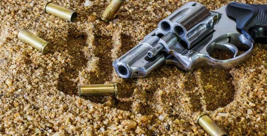 A gun and a footprint