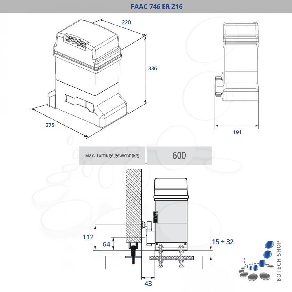 FAAC 746 ER Z16 Motor para puertas correderas