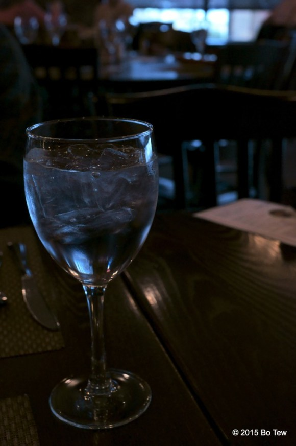 Glass of water at Redfire Grill.