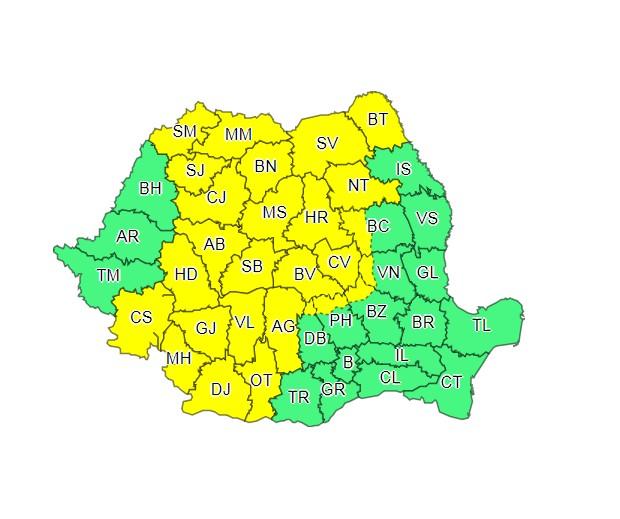 harta meteo cod galben pentru botosani
