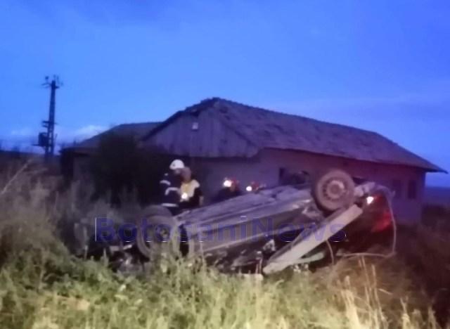 accident cu masina rasturnata in satul Ionaseni din comuna Trusesti- Botosani