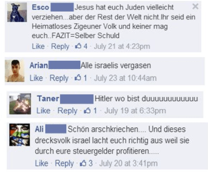Kommentare auf der Facebook-Seite der Botschaft