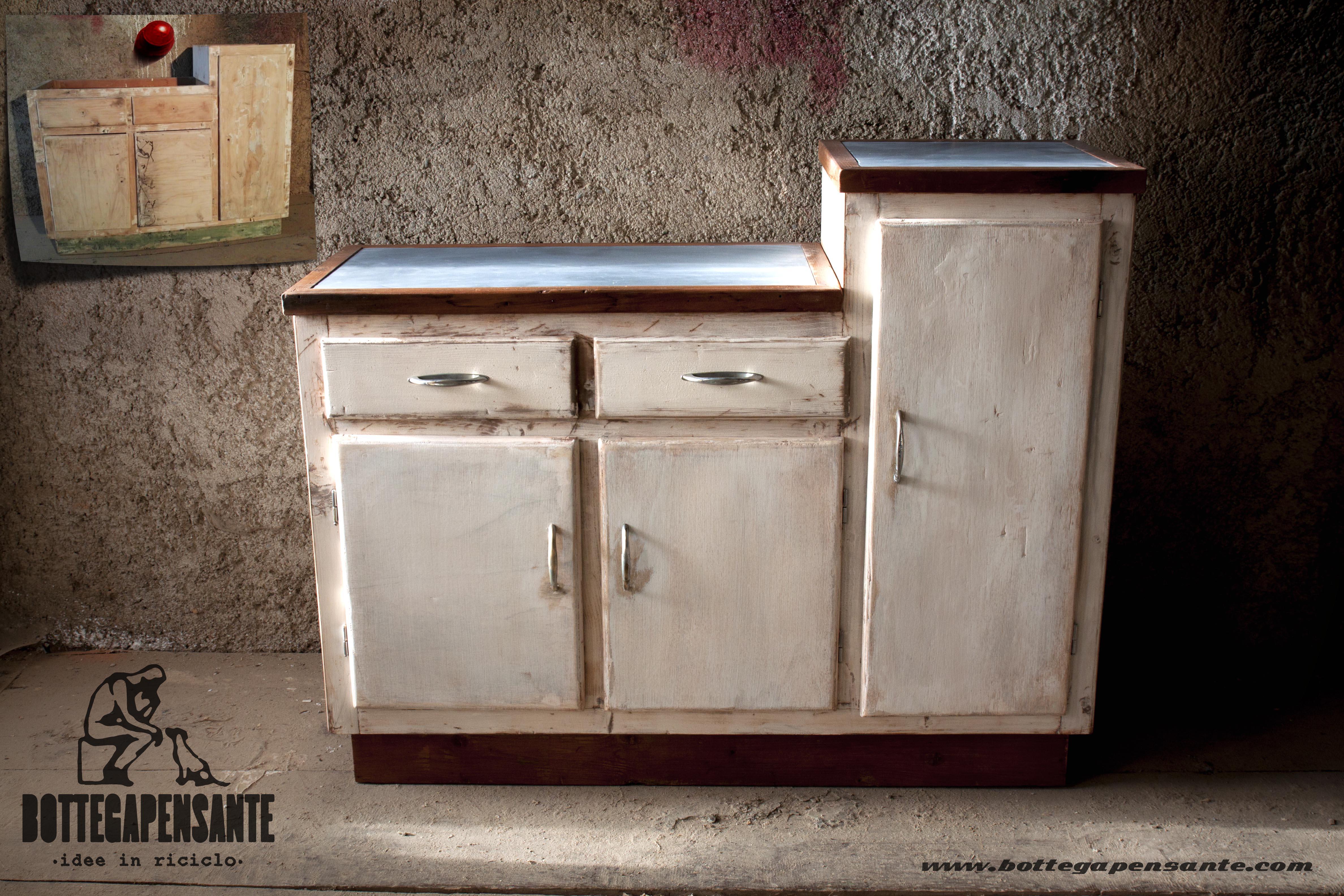 Mobile da cucina bianco riciclato vintage   bottega pensante