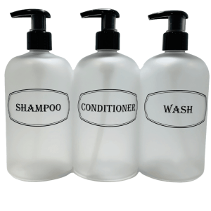 Clear shampoo, conditioner, wash on white background