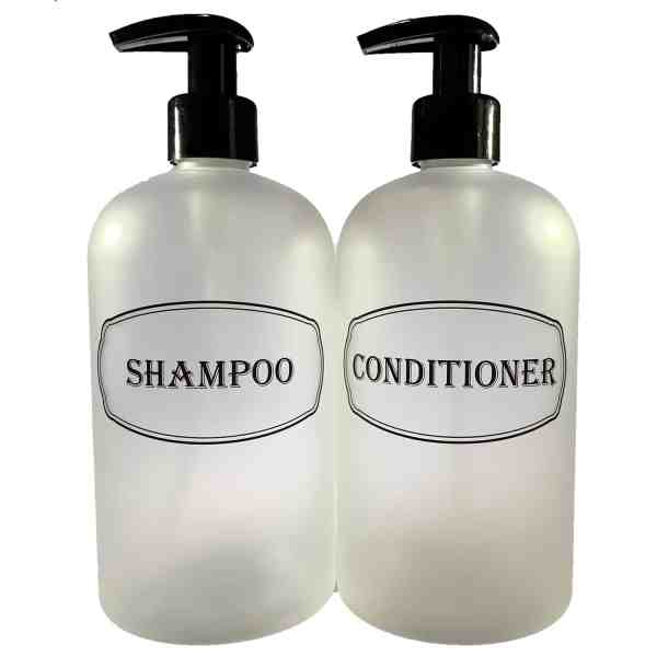 Clear shampoo and conditioner bottles printed with black pumps