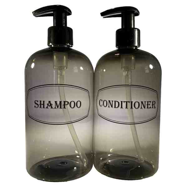 Gray shampoo and conditioner bottles printed with black pumps