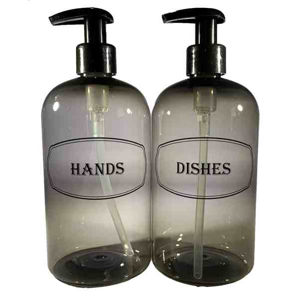 Gray hands and dishes liquid soap bottles w black print and black pumps