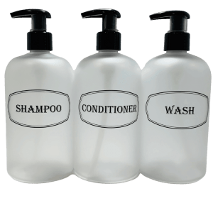 Frosted clear shampoo, conditioner, wash printed empty refillable bottles