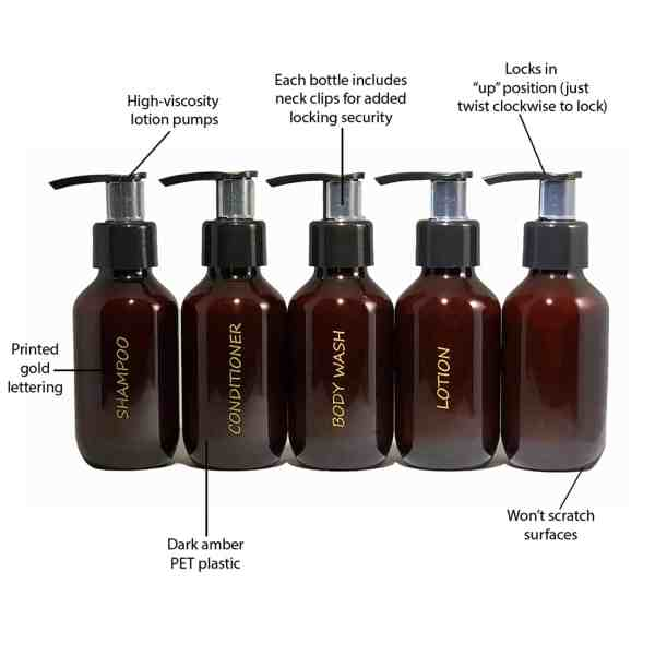Amber 3 oz travel toiletry bottle set of 5 w benefits