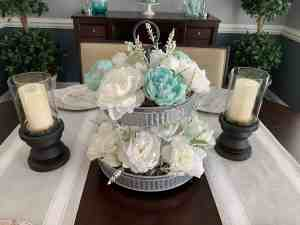 tiered tray floral decor final result