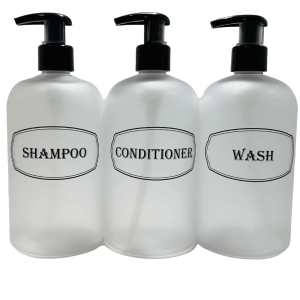 Clear frosted Shampoo, Conditioner, Wash bottles on white background
