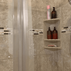 Close up of shower doors after squeegeeing