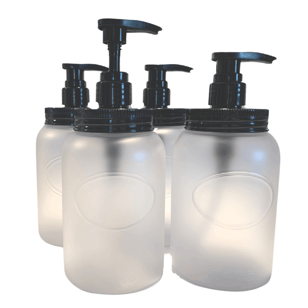 Frosted Clear wide mouth bottles w black lids and pumps