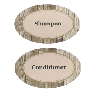Shampoo Conditioner labels-woodgrain