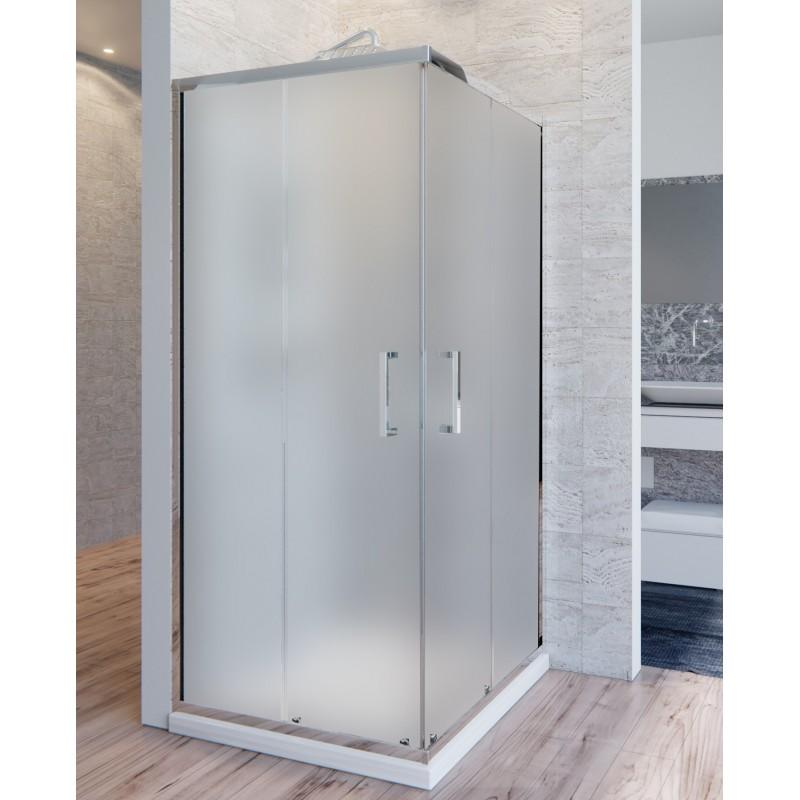 Box doccia 2 lati cristallo 6 mm satinato anticalcare doppia porta