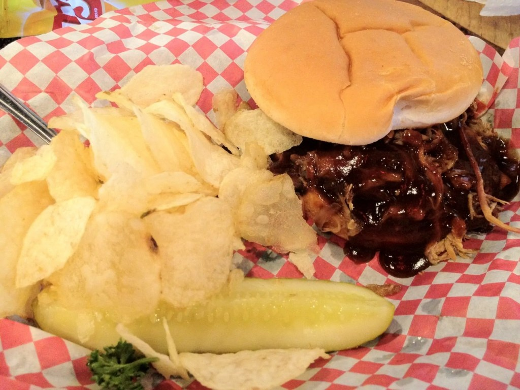 Pulled pork sandwich and chips at Breckenridge Brewery & Bar-B-Que, Denver.