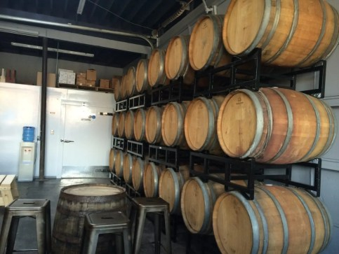 Barrel aging cider at Stem Ciders